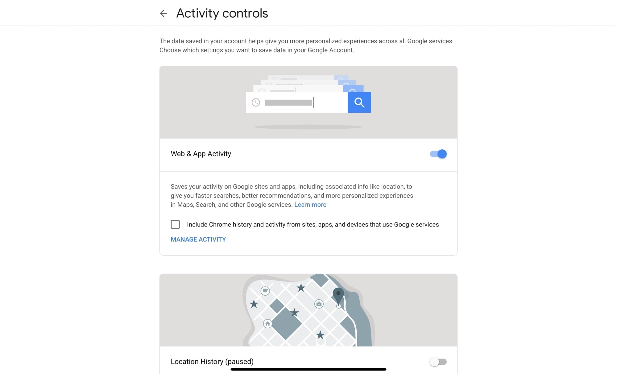 Switch everything off on the Google Activity Controls page.