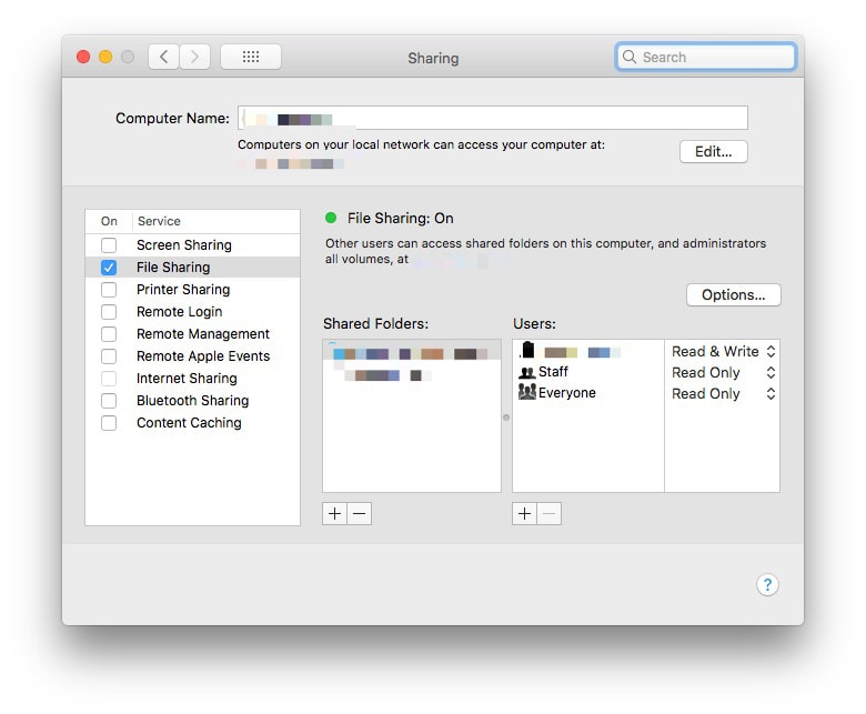 Check File Sharing, and then click Options…
