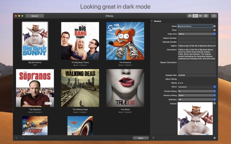 iFlicks 3 works with macOS Mojave's dark mode.