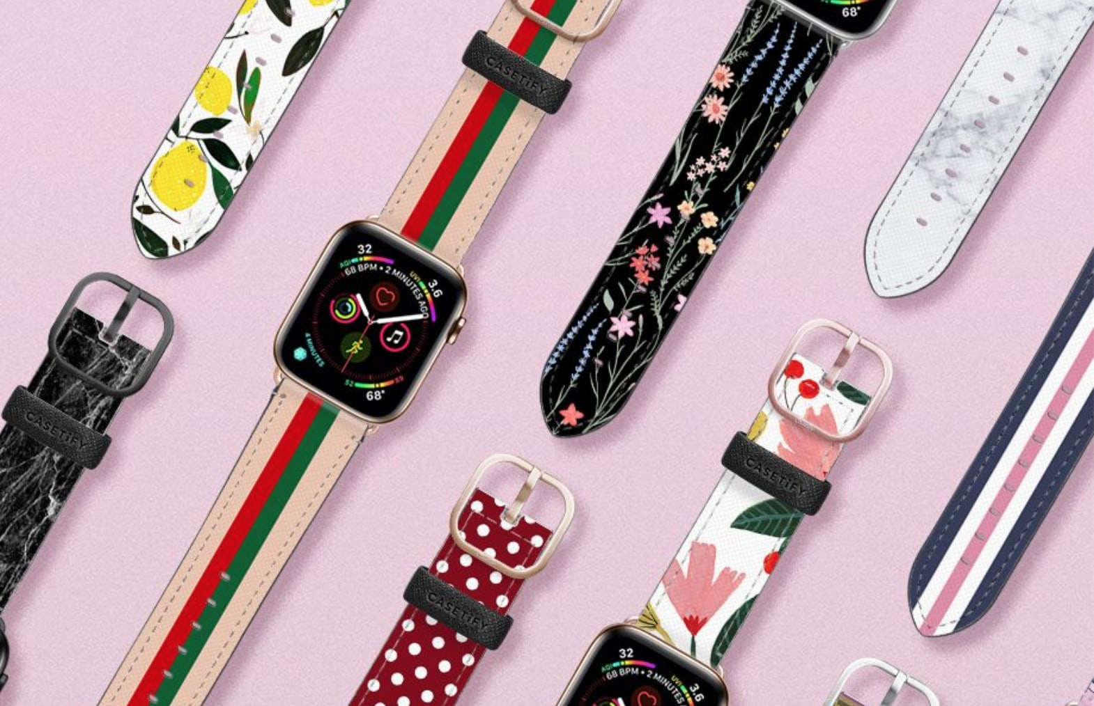 Casetify Apple Watch bands come in vibrant prints in Saffiano leather, offering tons of exclusive designs to light up eyes and match your every mood.
