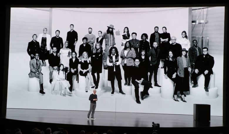CEO Tim Cook before a picture of actors, directors, and producers of Apple TV+ original shows.