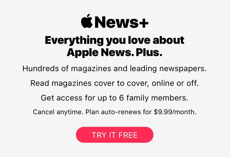 Apple News+ signup screen