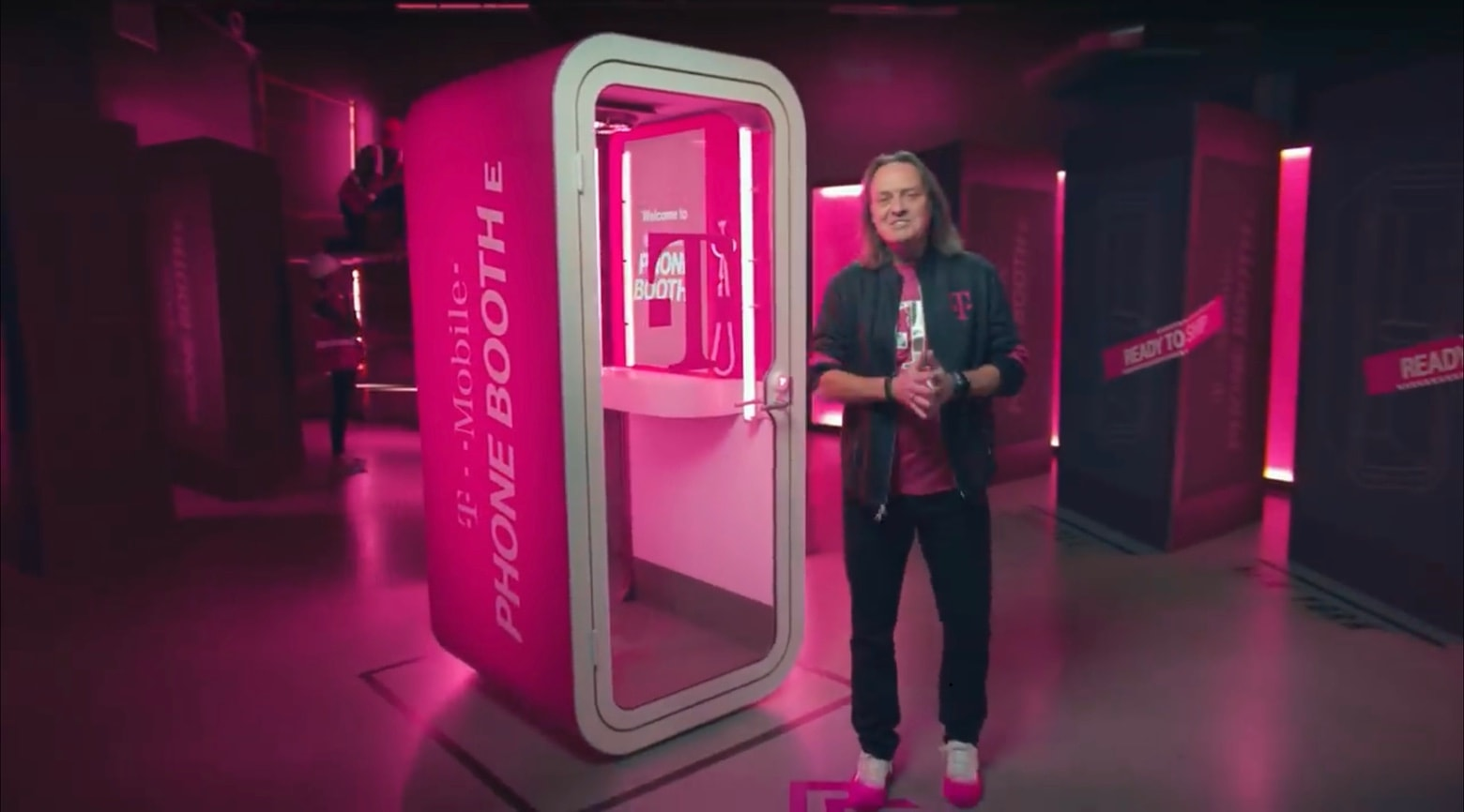 T-Mobile CEO John Legere with the Phone BoothE.