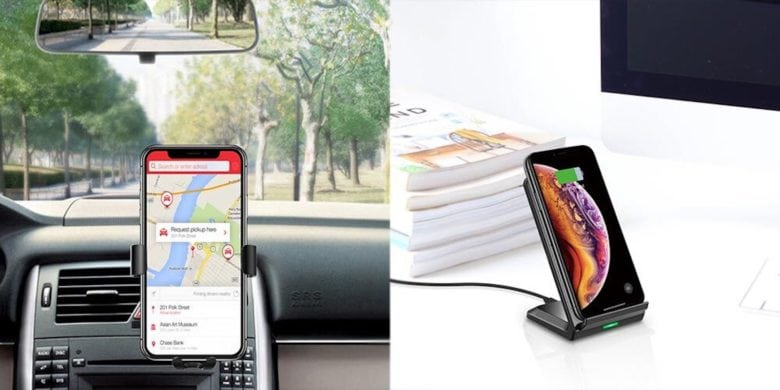 This sleek wireless charger sits nicely on almost any surface, while leaving your device ready to use.