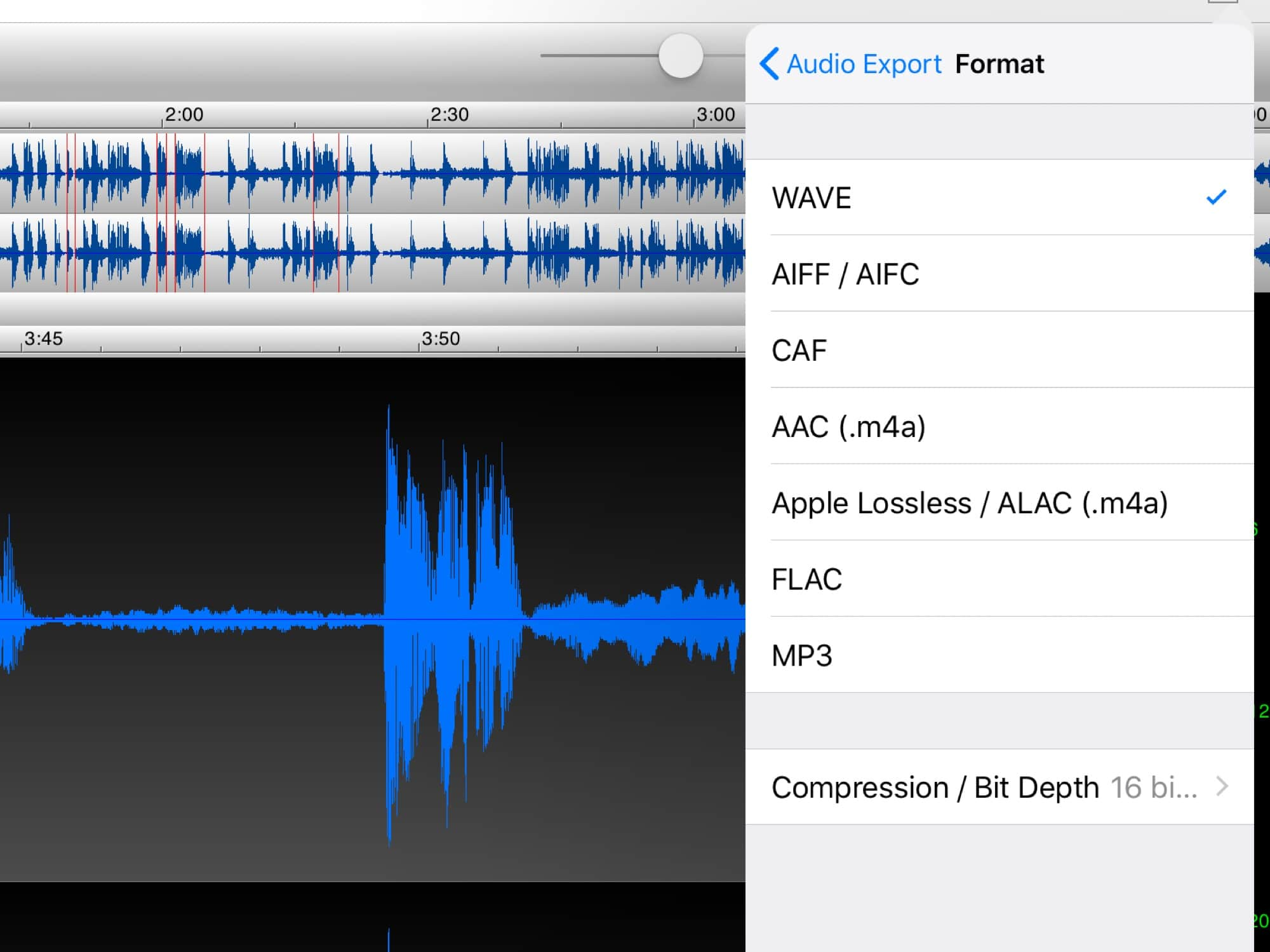TwistedWave can export to most audio formats.