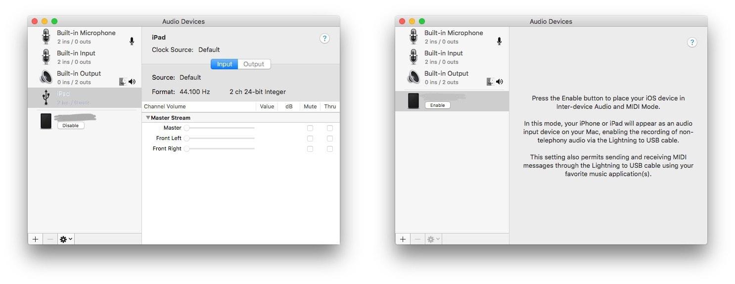 Configuración de audio MIDI en la Mac.
