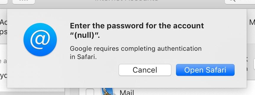Gmail error macOS