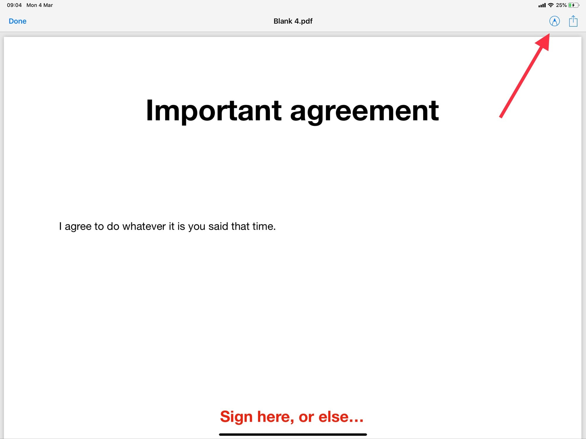 Tap the Instant Markup button to sign the PDF form.
