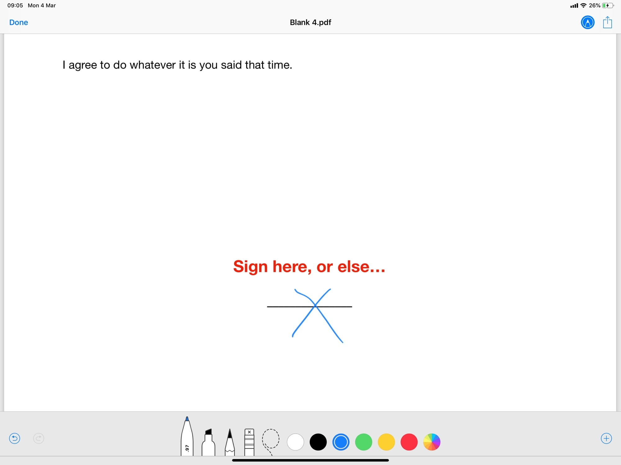 Sign here. It's easy to sign PDFs on iPad or iPhone with Instant Markup.
