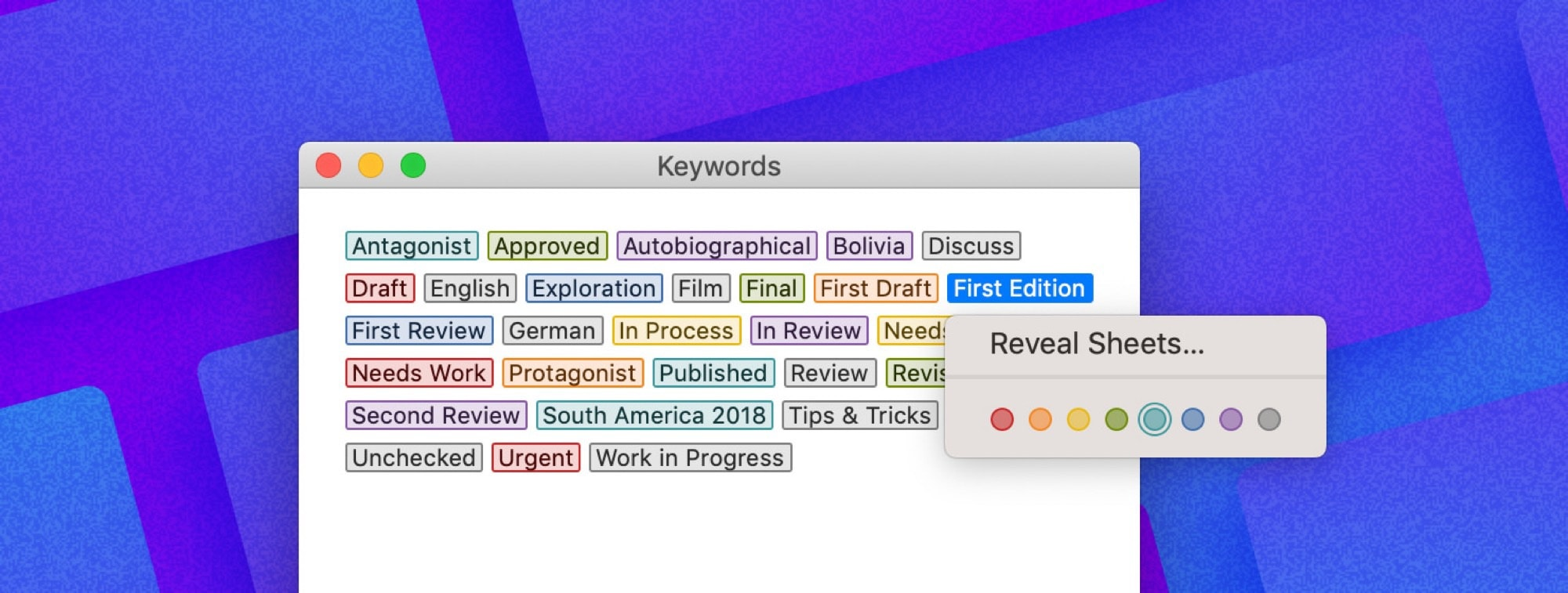Ulysses adds editable keywords!