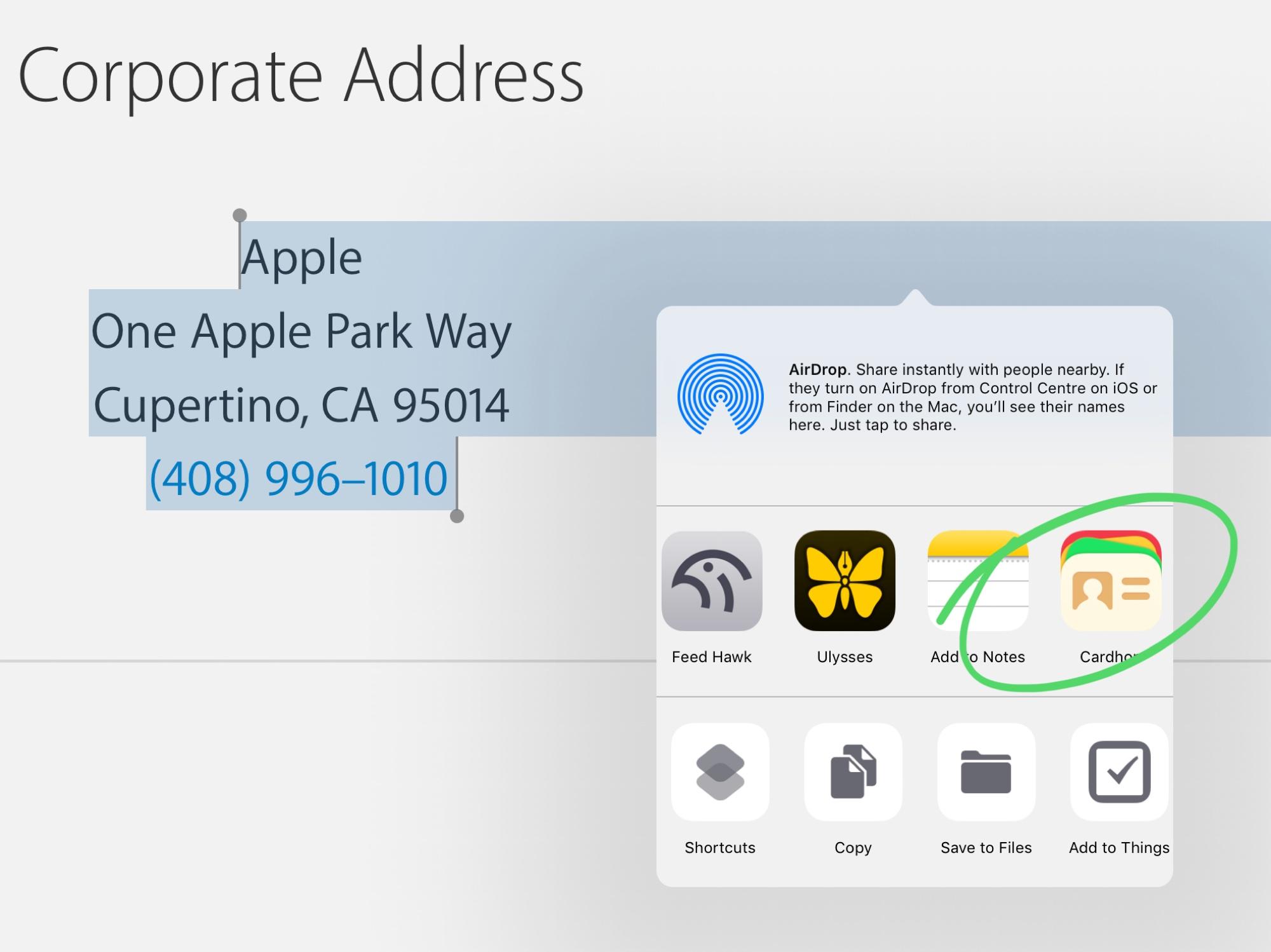 Agrega un nuevo contacto usando la hoja de compartir.