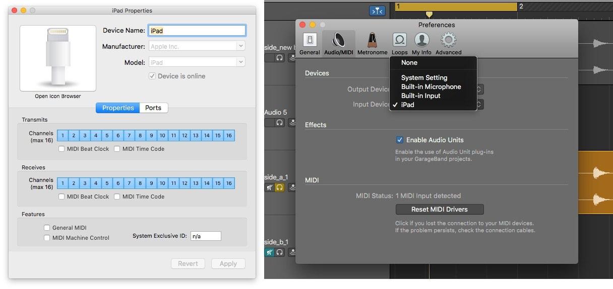 Audio and MIDI, both arriving via iDAM.