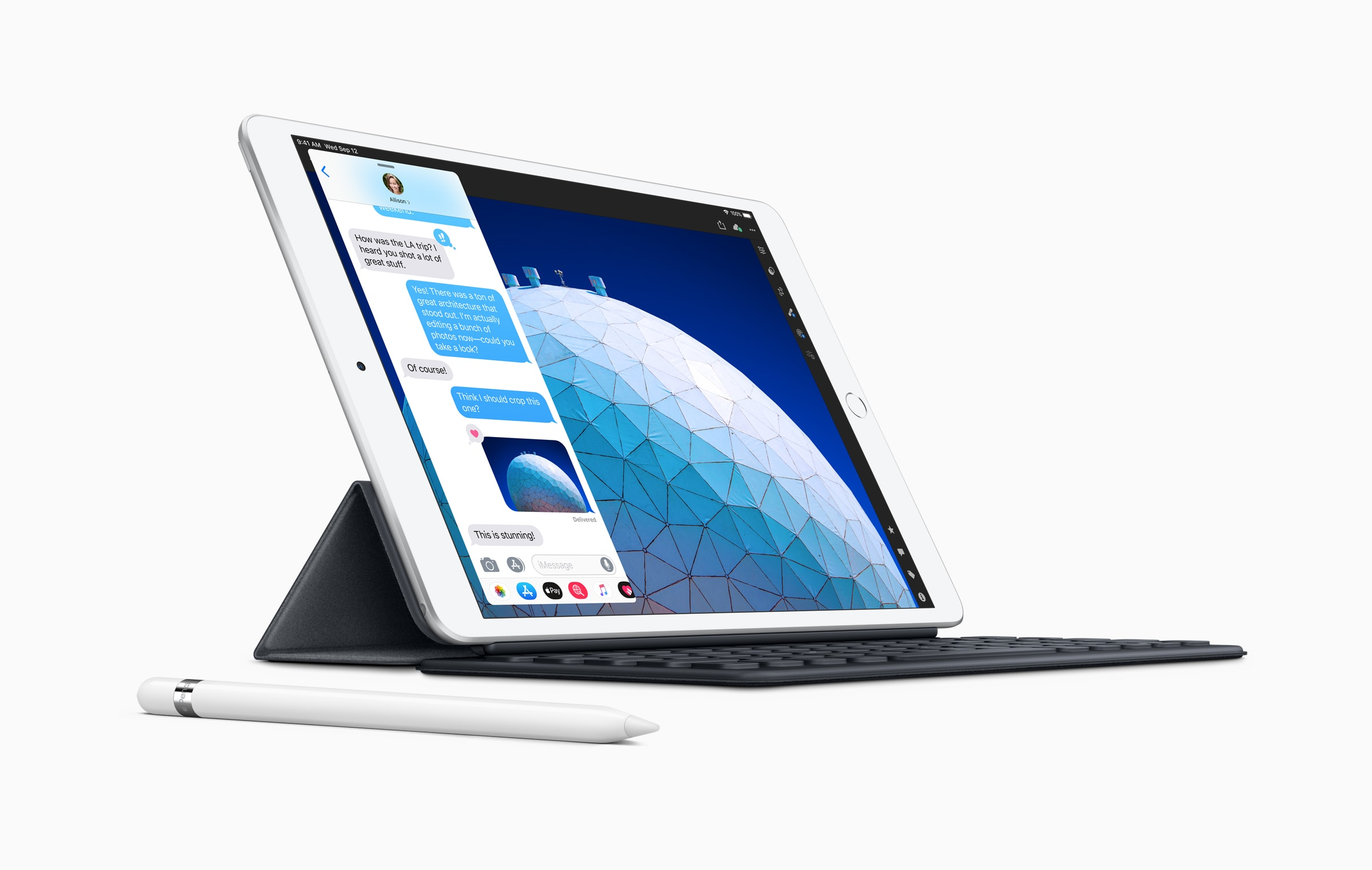 The new 2019 iPad Air, with its 10.5-inch screen, works with Apple's existing Smart Keyboard.