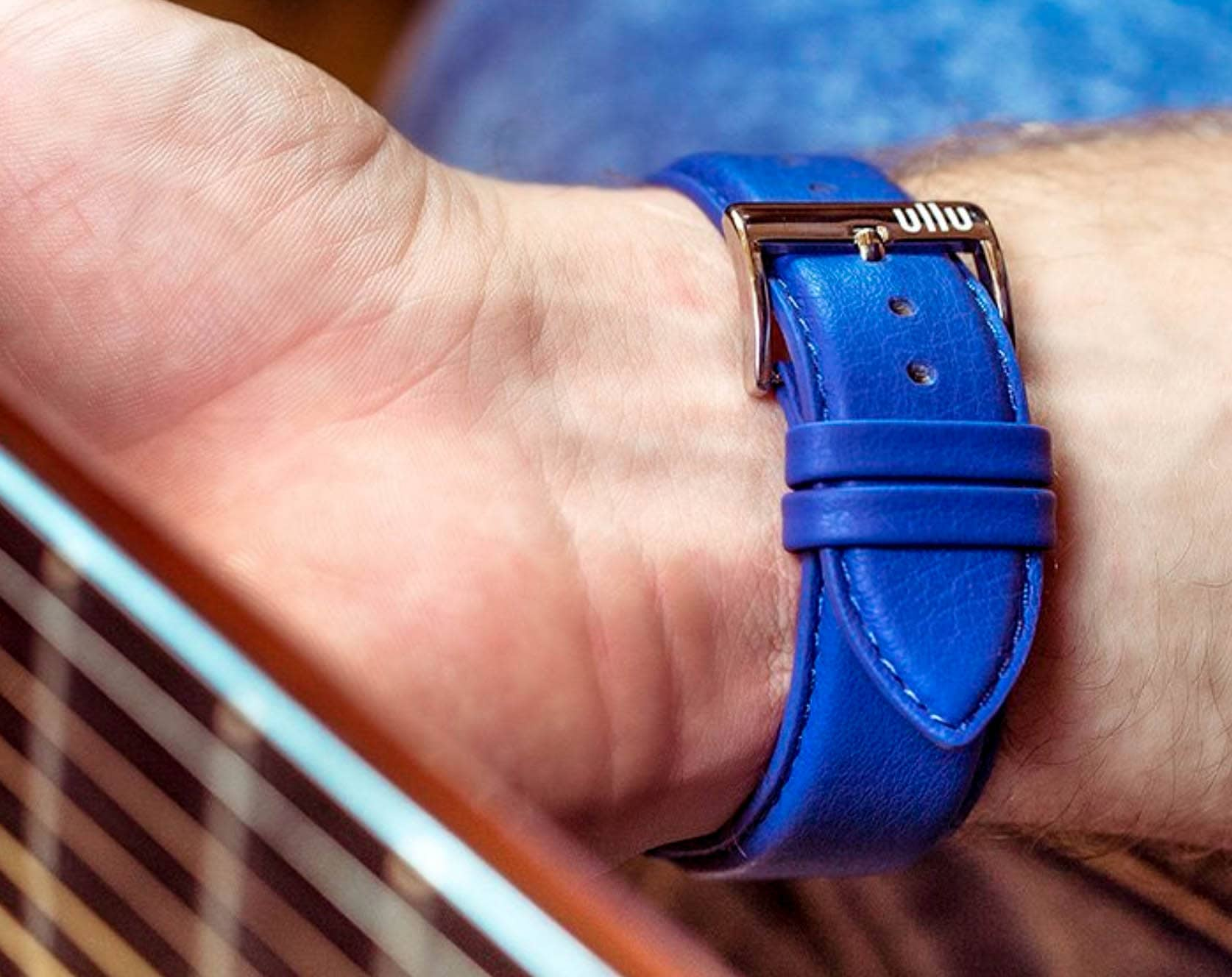Switch it up with Blue Steel and 24 other vibrant color options from Ullu's line of premium leather Apple Watch bands