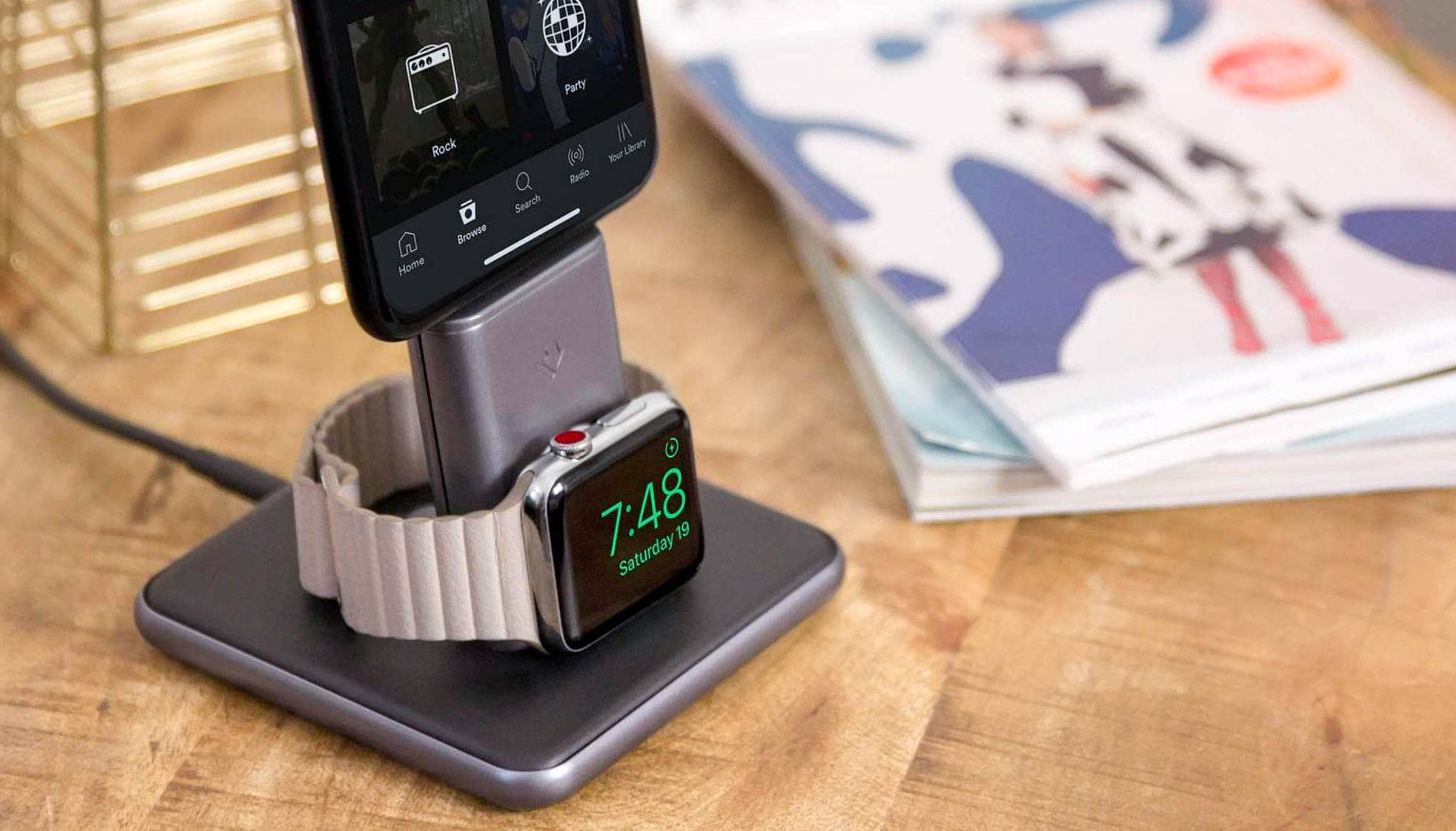HiRise Duet is the first dual charging stand that powers up Apple Watch in Nightstand mode.