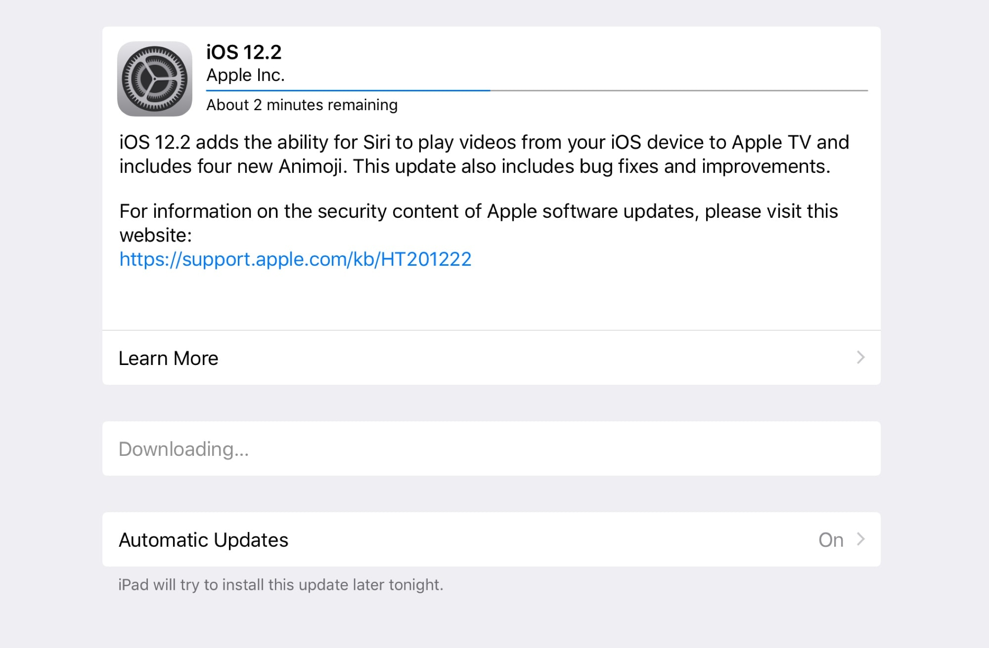 The new iOS 12.2 is available now.