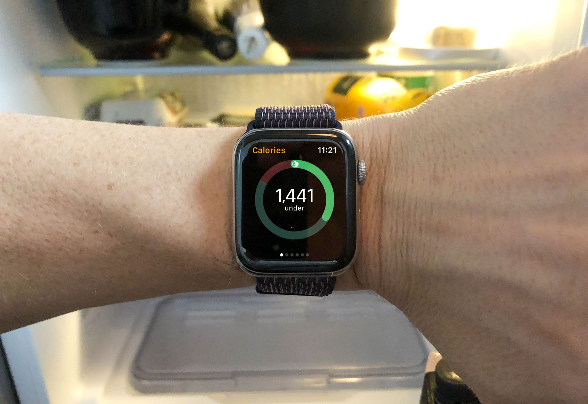 The Lose It watch app tells you how many calories you have left for the day.