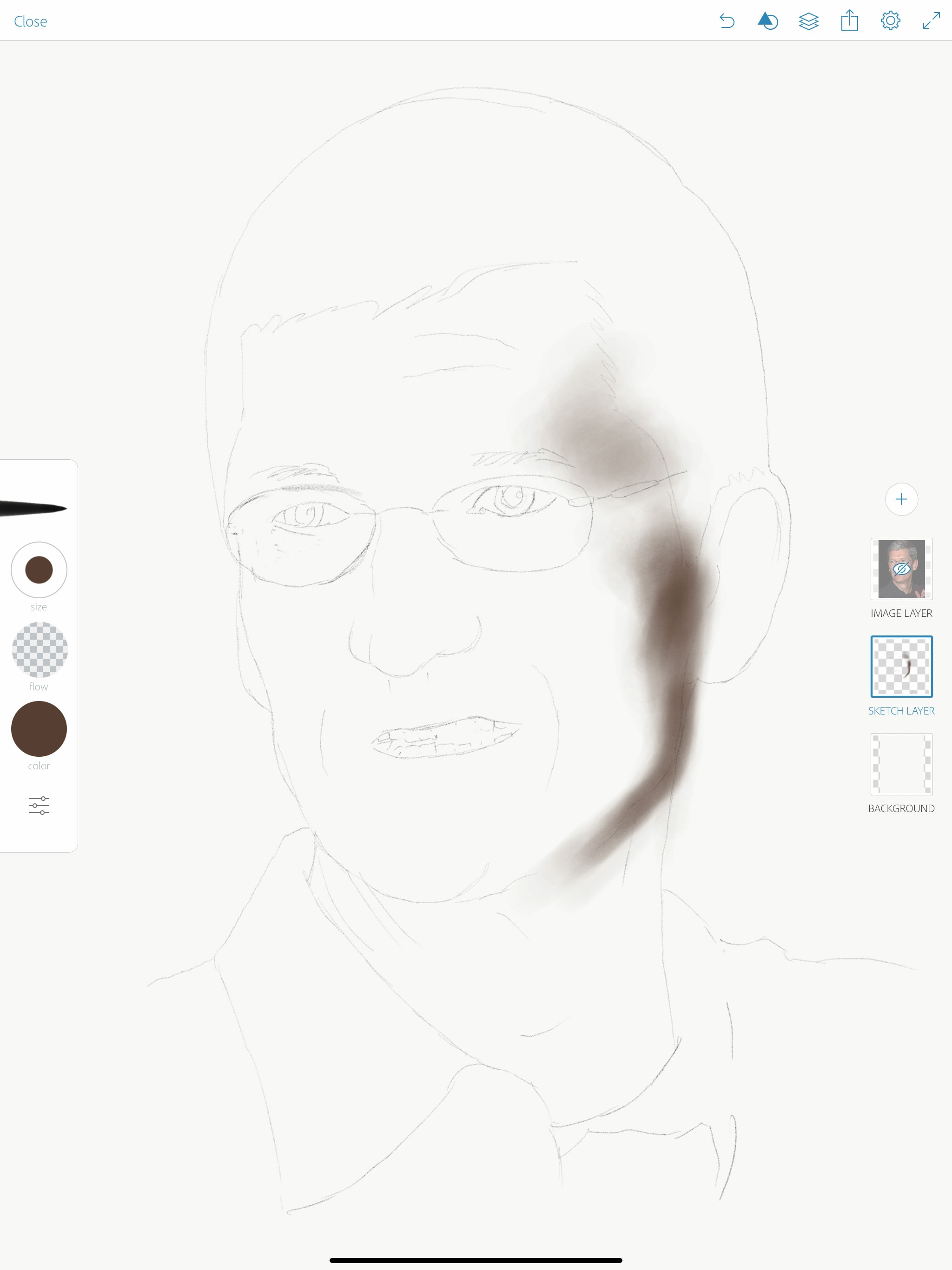 Cómo dibujar un retrato con Apple Pencil: Paso 1: traza un contorno
