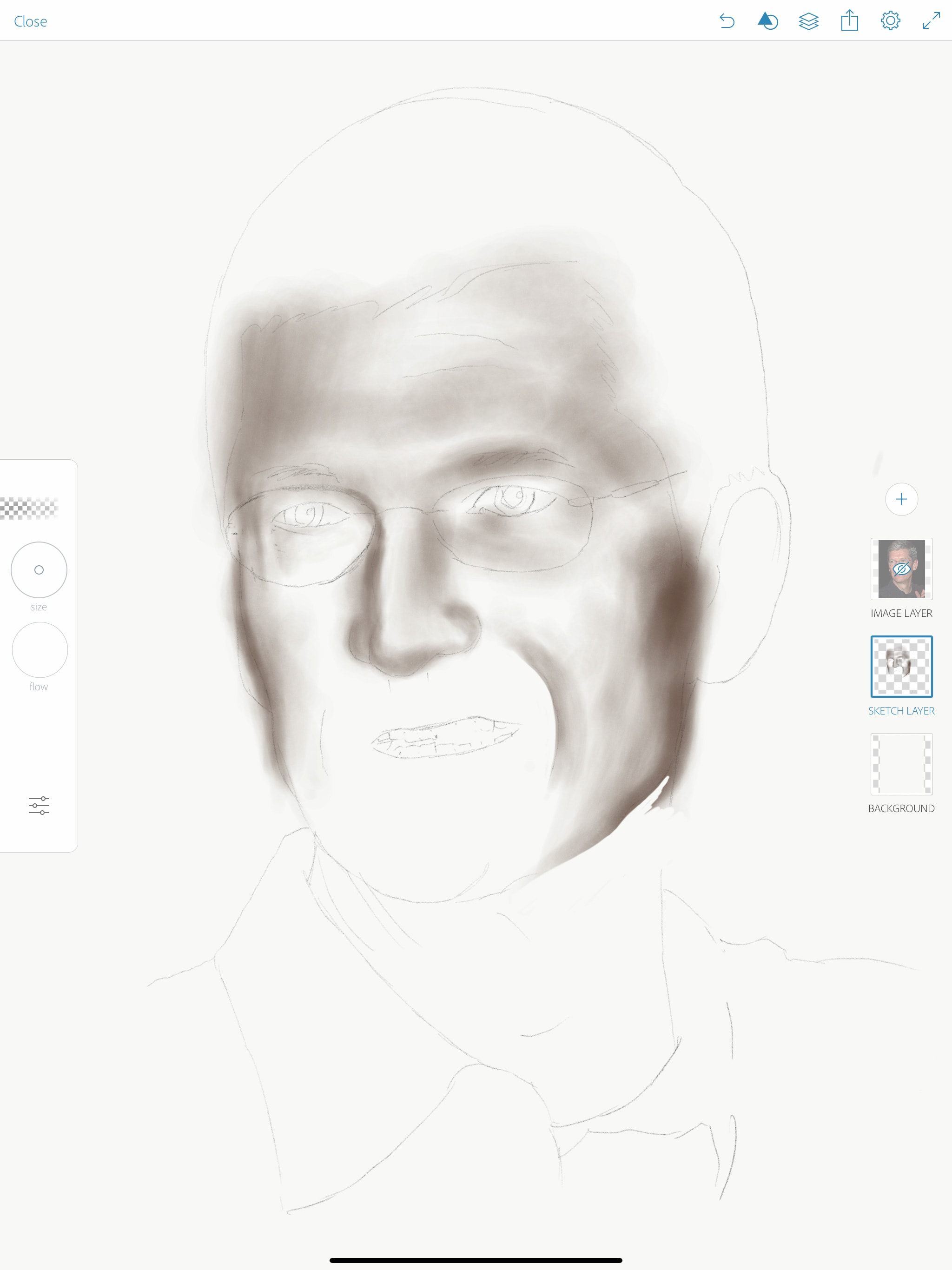 Apple pencil portrait drawing step 2 add shadow and highlight