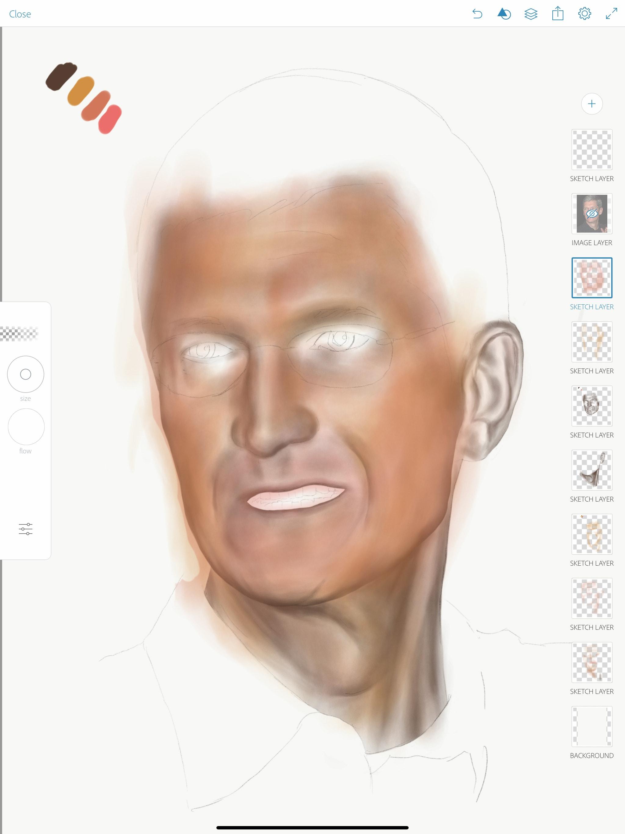 Apple Pencil portraiture: Step 3: Add some color