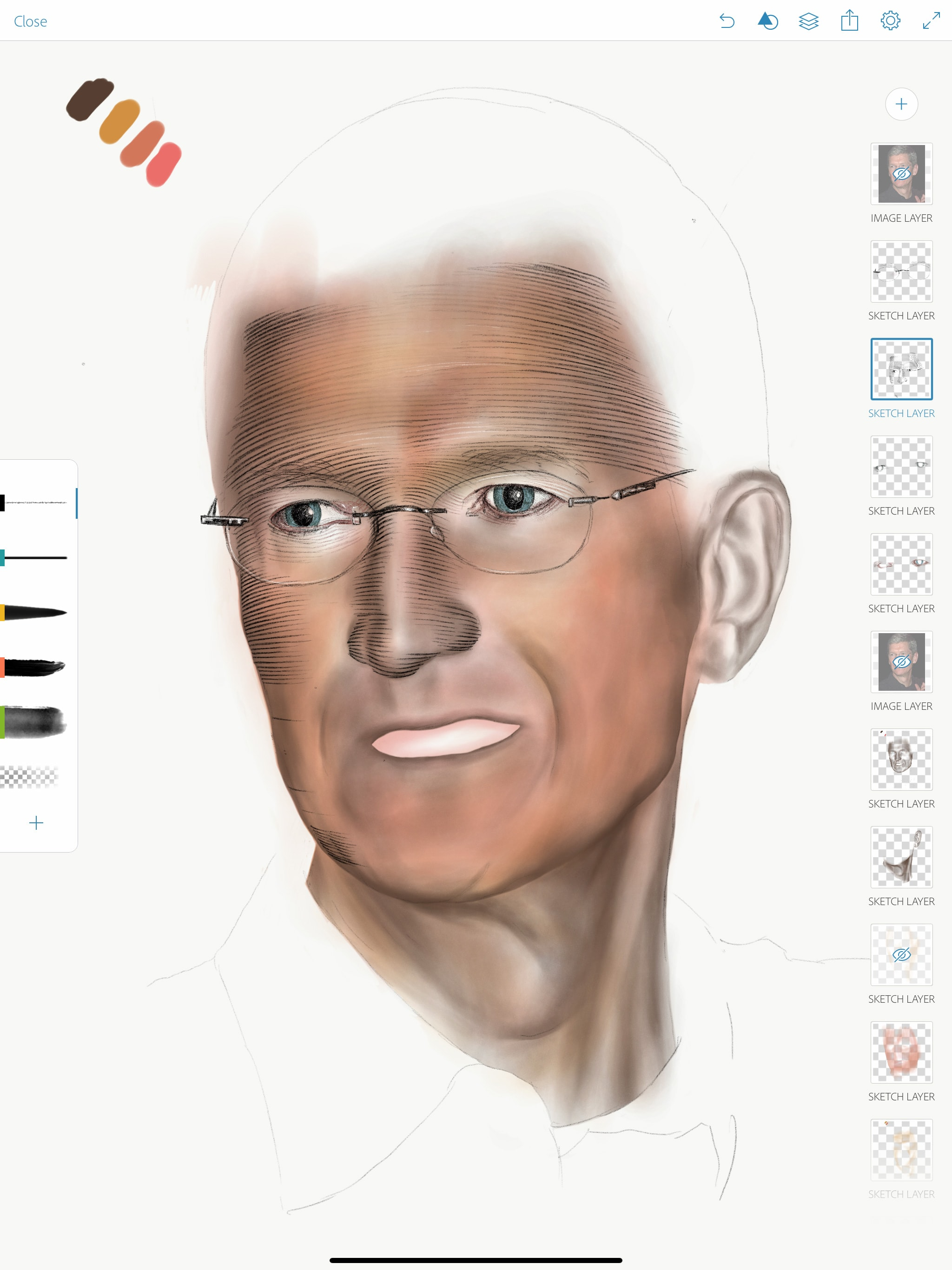 Dibujo de retratos con Apple PenciL: Paso 4: Agregue los detalles