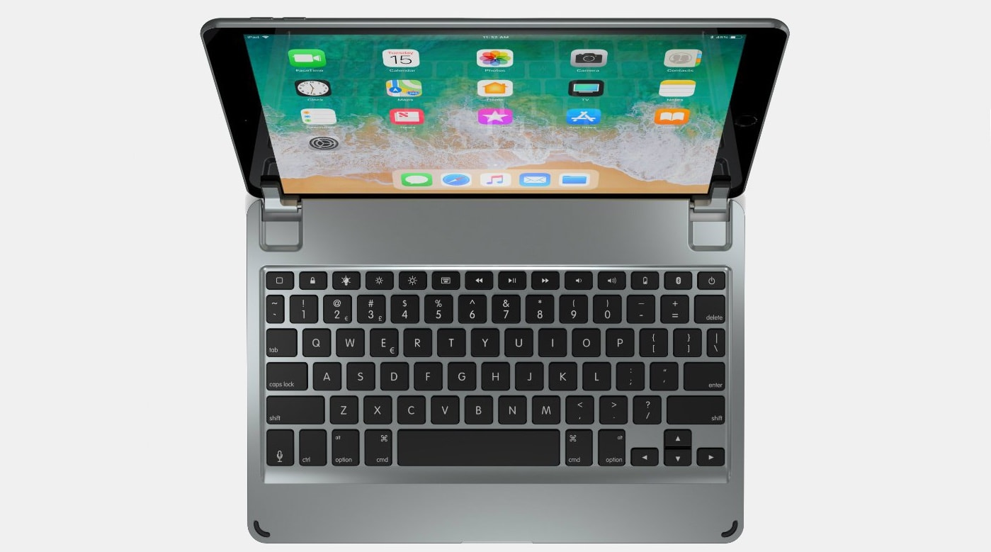 The Brydge 10.5 clip-on keyboard can be used with the new iPad Air.