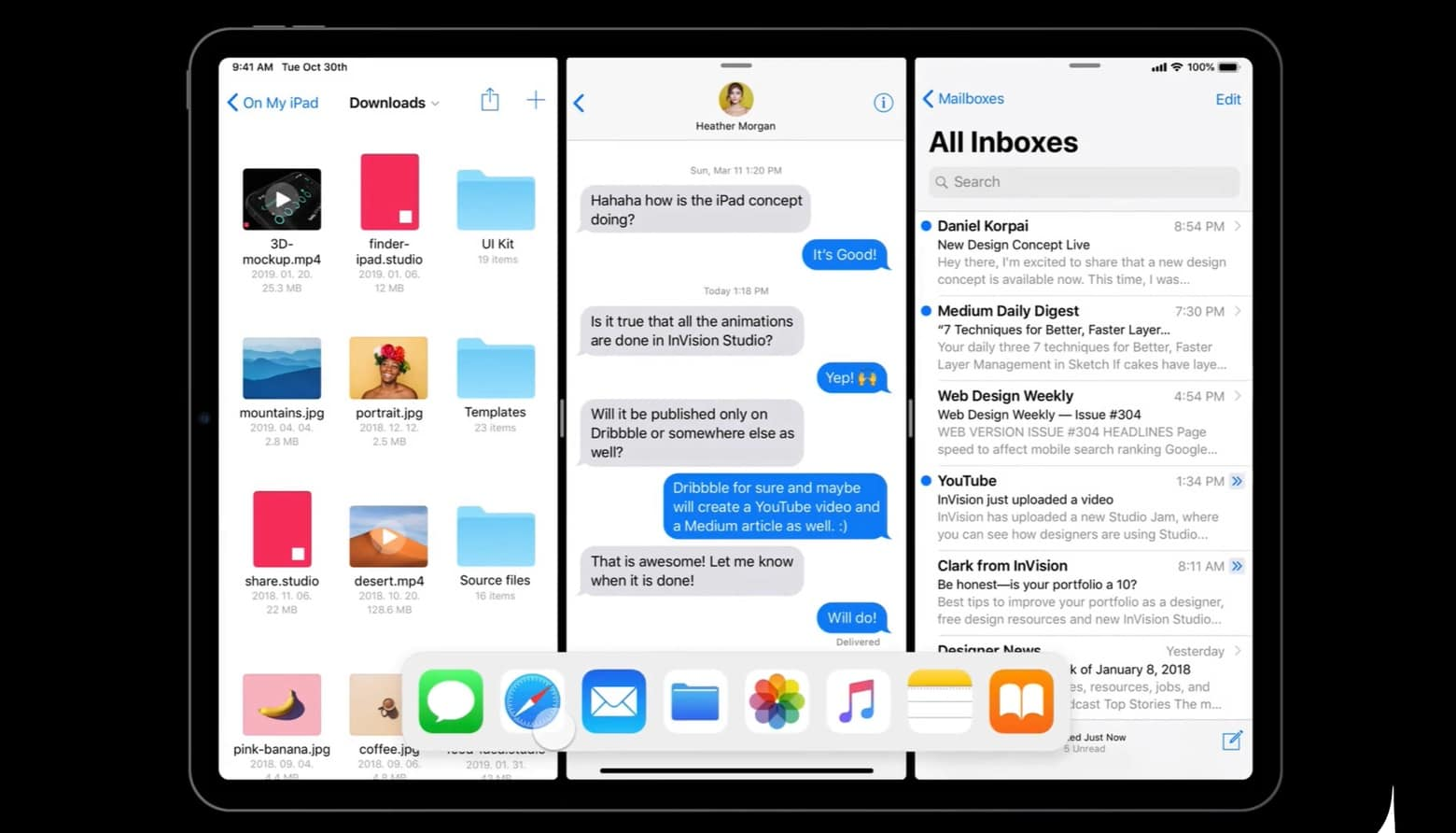 iOS 13 split-view multitasking proposal