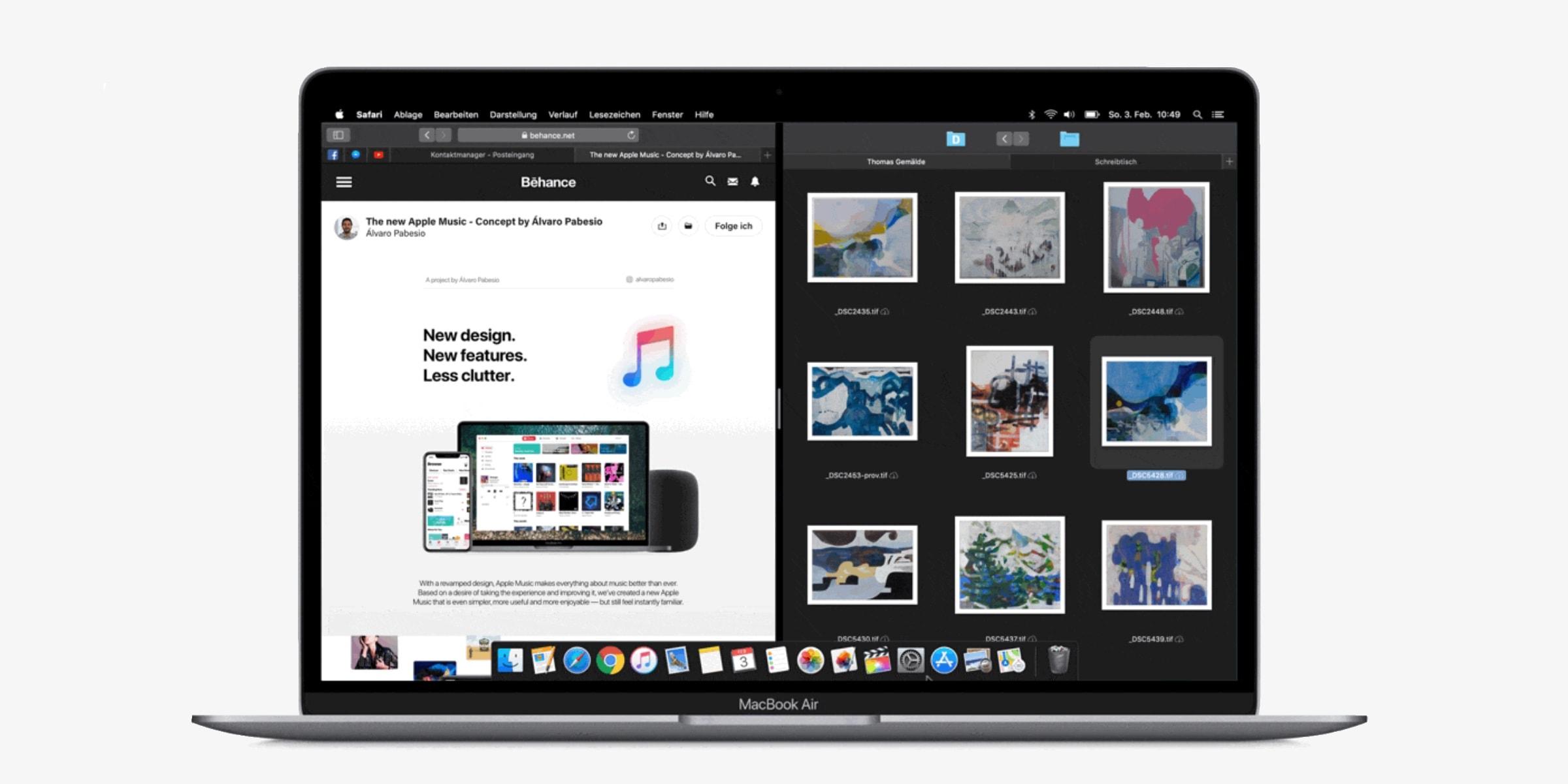 Perhaps the MacBook should adopt split-screen multitasking instead of floating windows.