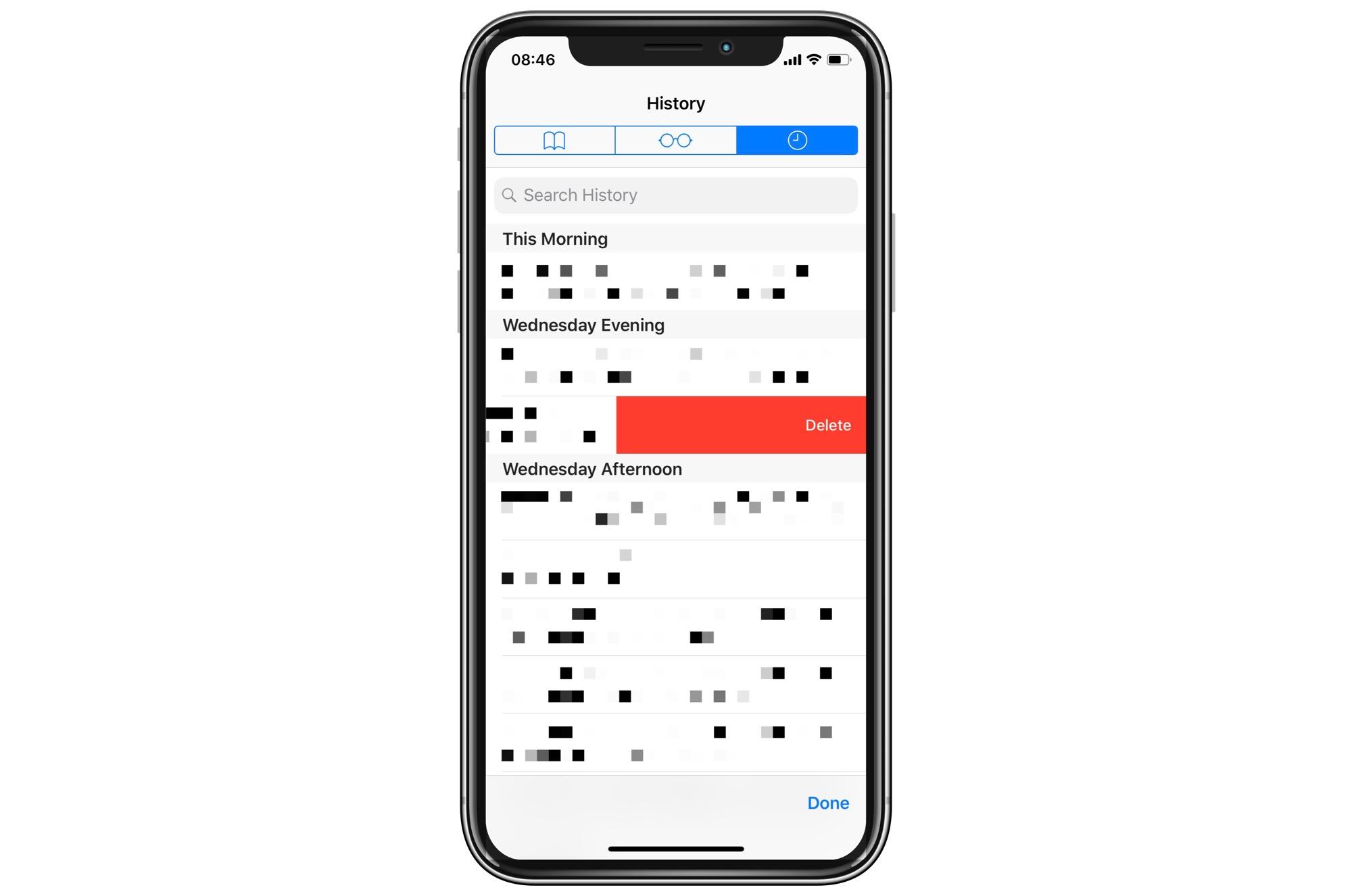Desliza para eliminar tu historial de Safari, como en cualquier otro lugar en iOS.