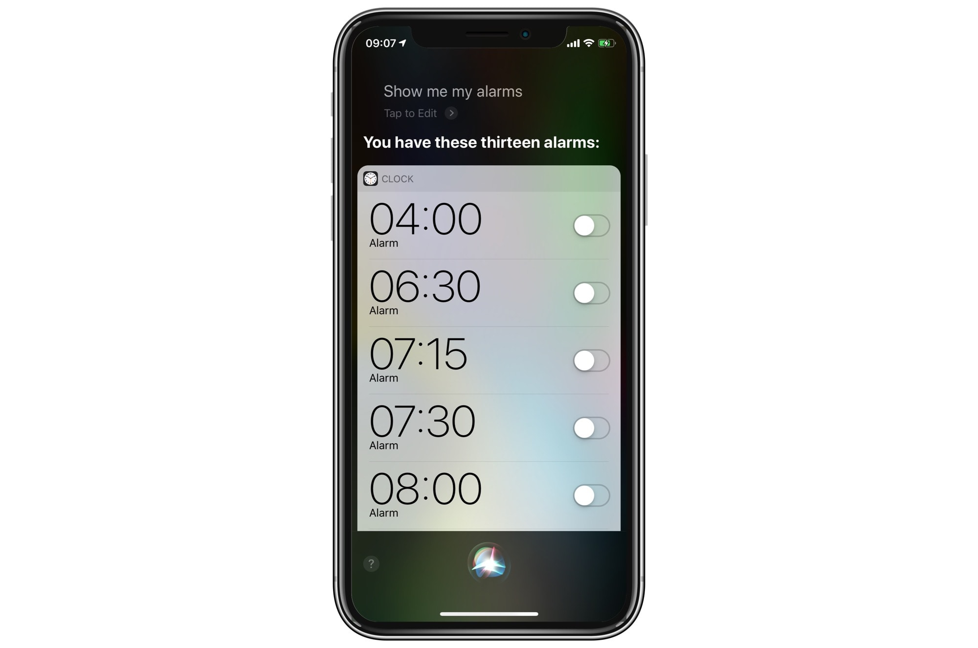Siri can show you all your alarms.