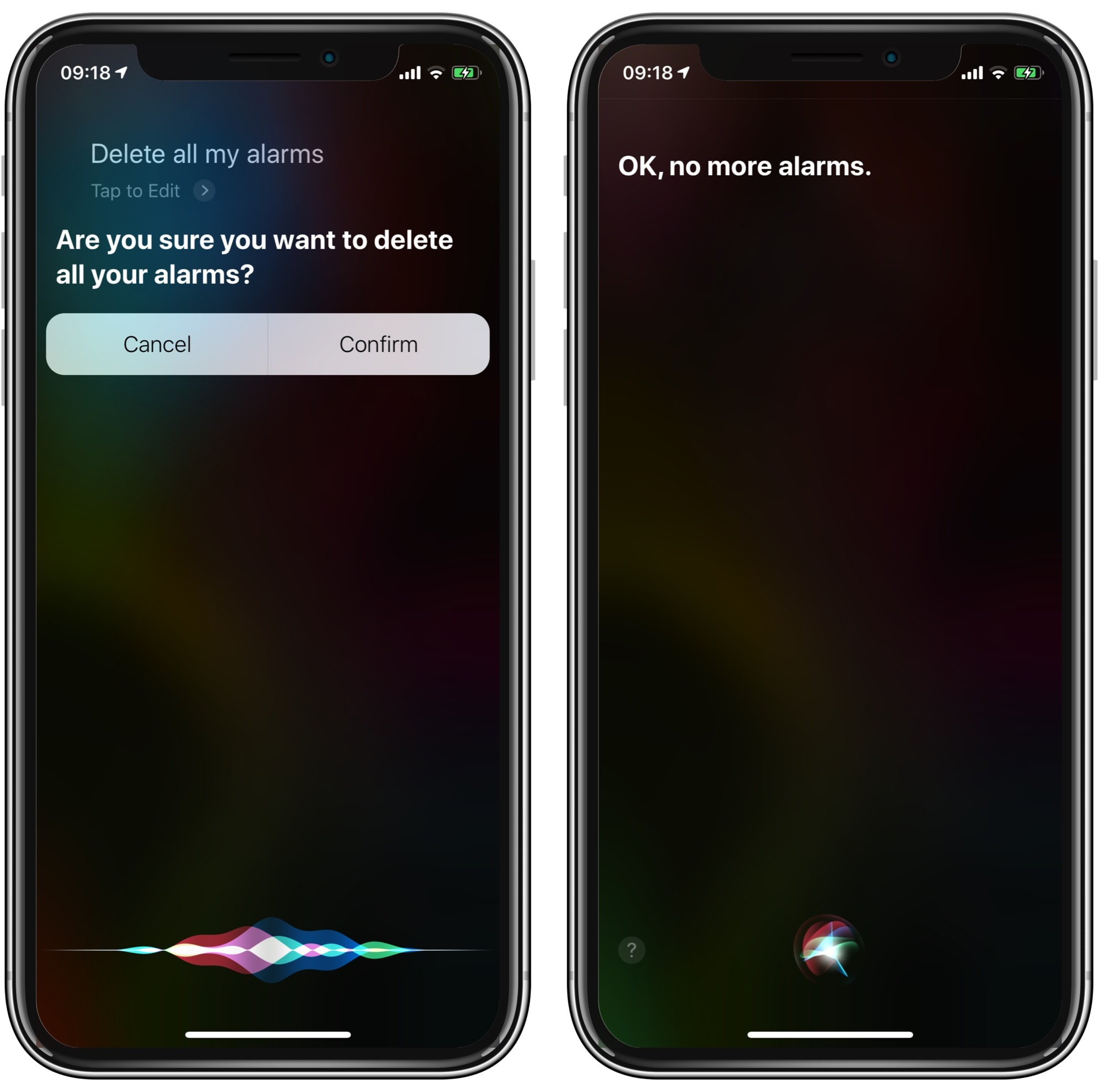 Siri can delete all your alarms in one go.