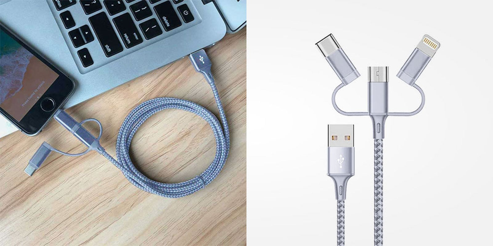 This single cable can charge and sync Micro USB, Lightning, and USB-C devices.