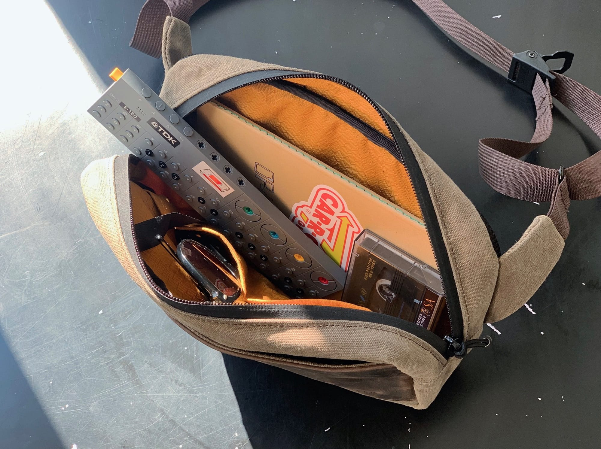 The Sutter Sling carries everything a hipster needs to survive.