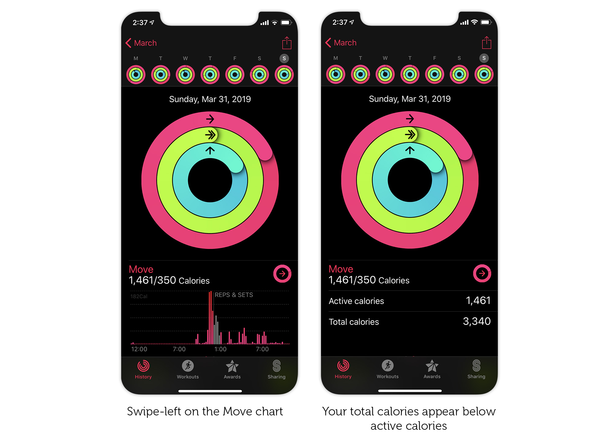 How to reveal your total calories in the iPhone Activity app.