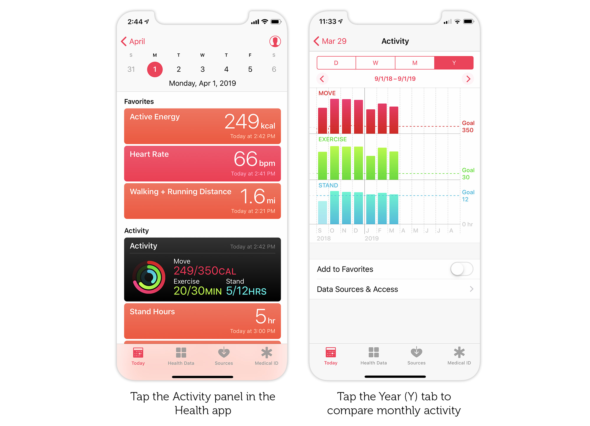 How to view activity by month and year in the Apple Health app.