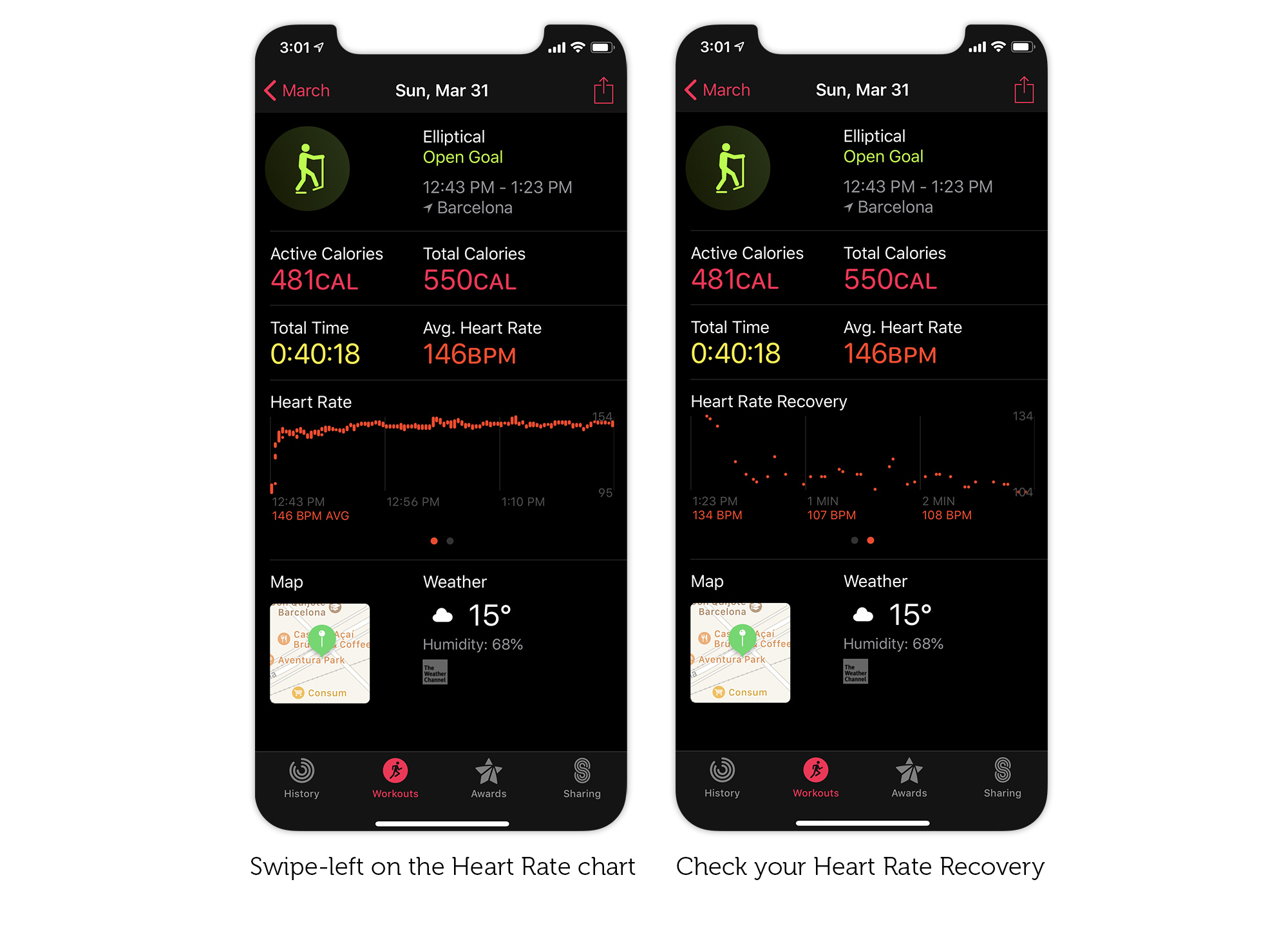 How to check your Heart Rate Recovery in the iPhone Activity app.