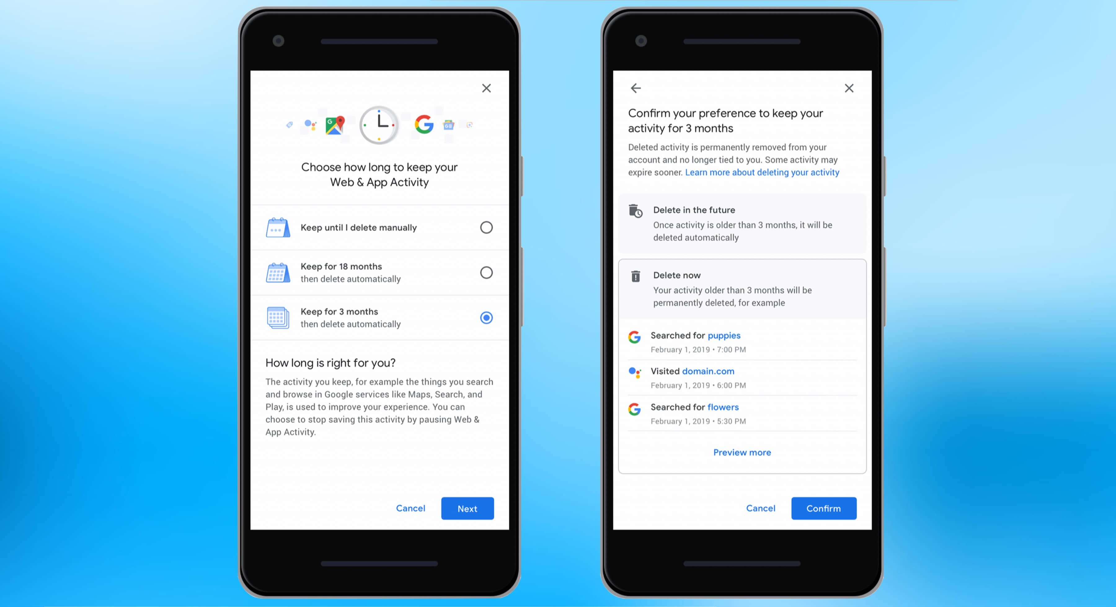 Setting your Google account to automatically delete old information about you will soon be possible.