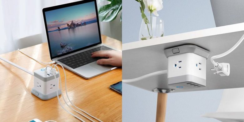 This compact 3-outlet powercube mounts to basically any surface.