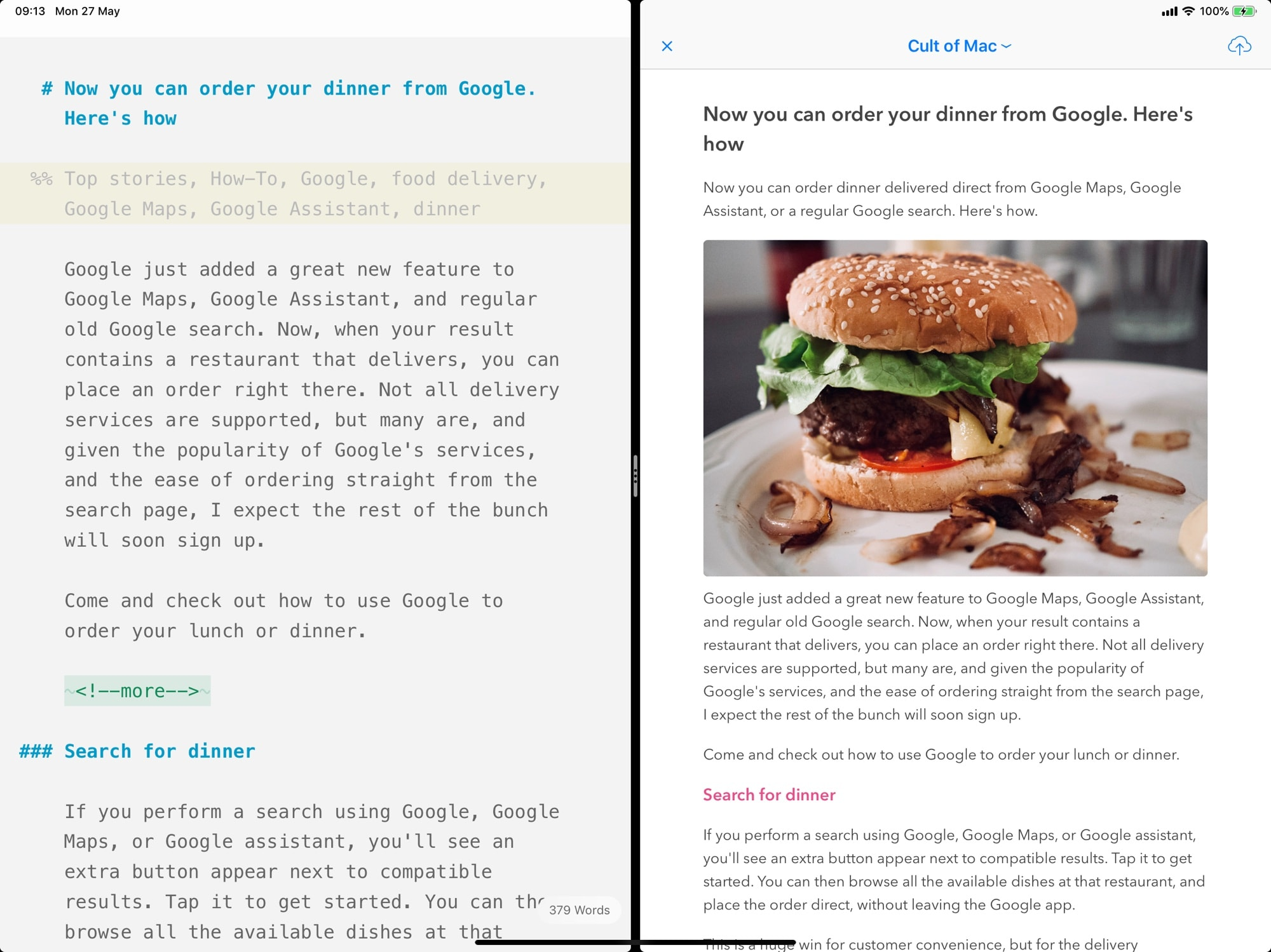 Ulysses' split view, with a publishing preview on the right.