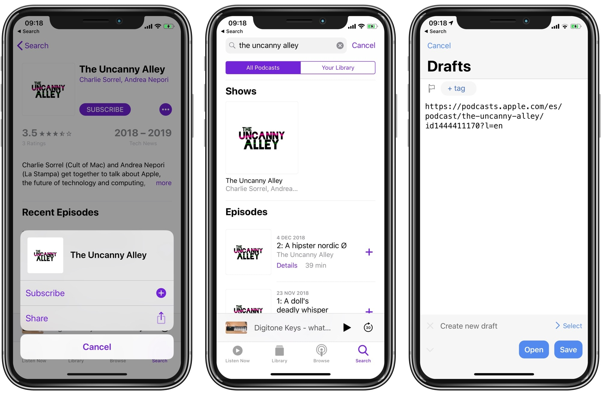 You can grab a podcast feed right from Apple's directory, using the Podcasts app.