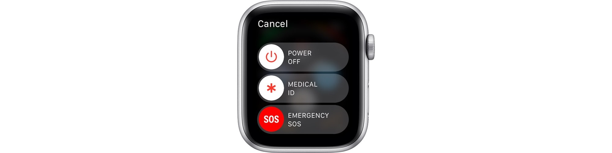 Long-press the Digital Crown to get the Apple Watch Emergency SOS slider.