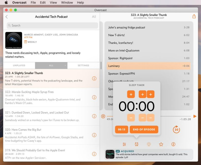 Chapters and Sleep timer in Overcast on the Mac