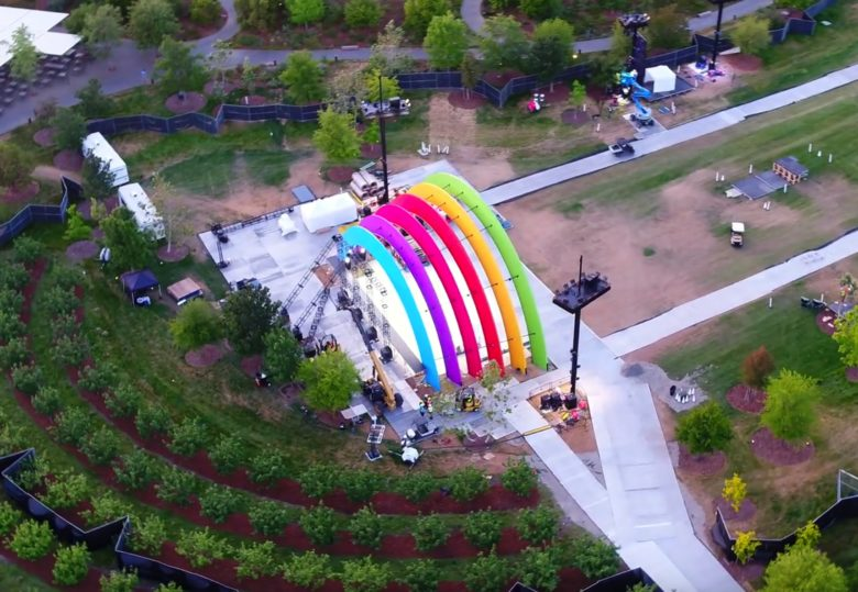 Brightly colored segments make Apple Stage look like a rainbow.