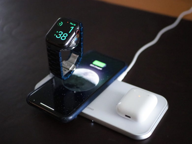 Zens Dual + Watch wireless charging mat in white.