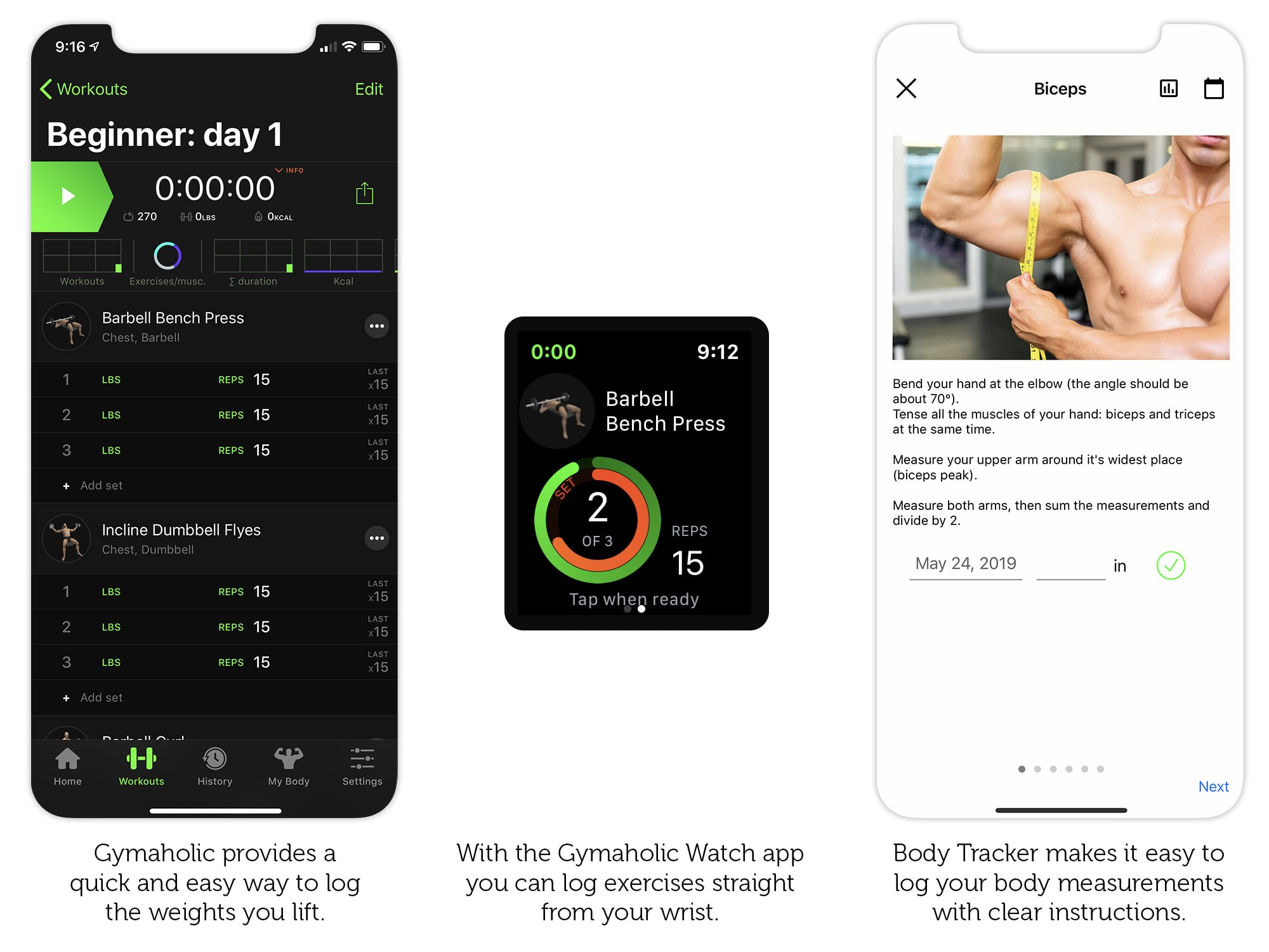 Log your progress with Gymaholic and Body Tracker