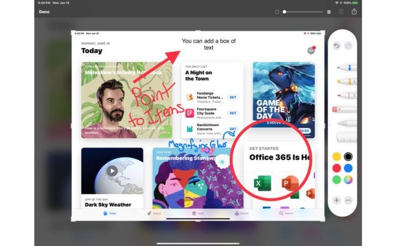 Markup tools in iPadOS 13