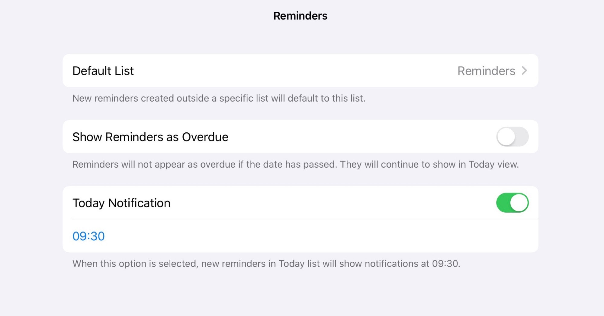 The Reminders app preference settings in iOS 13. That's more like it.