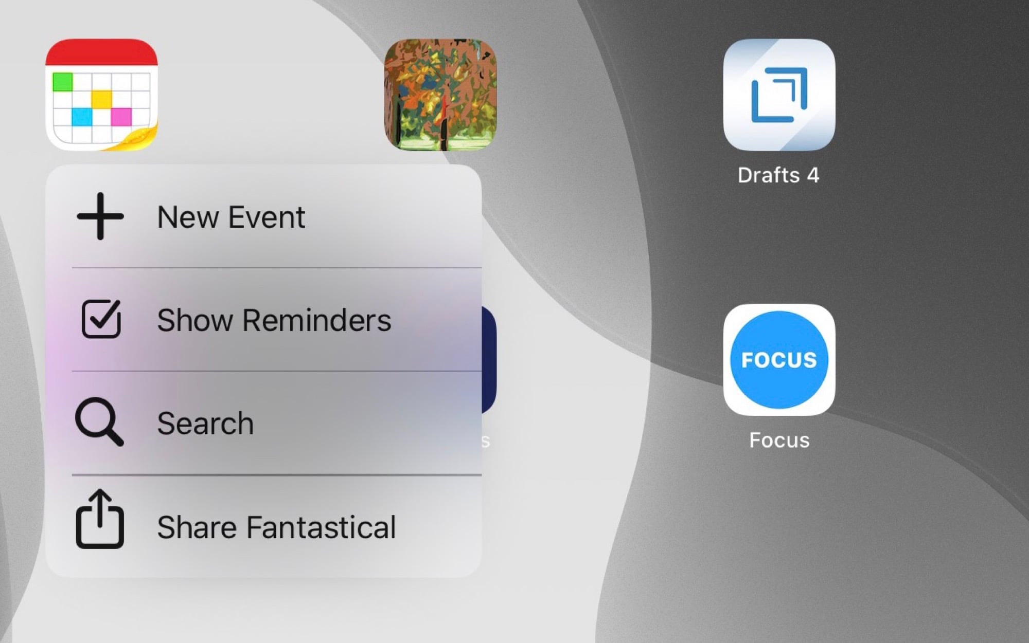 Fantastical's 3D Touch options, on the iPad.