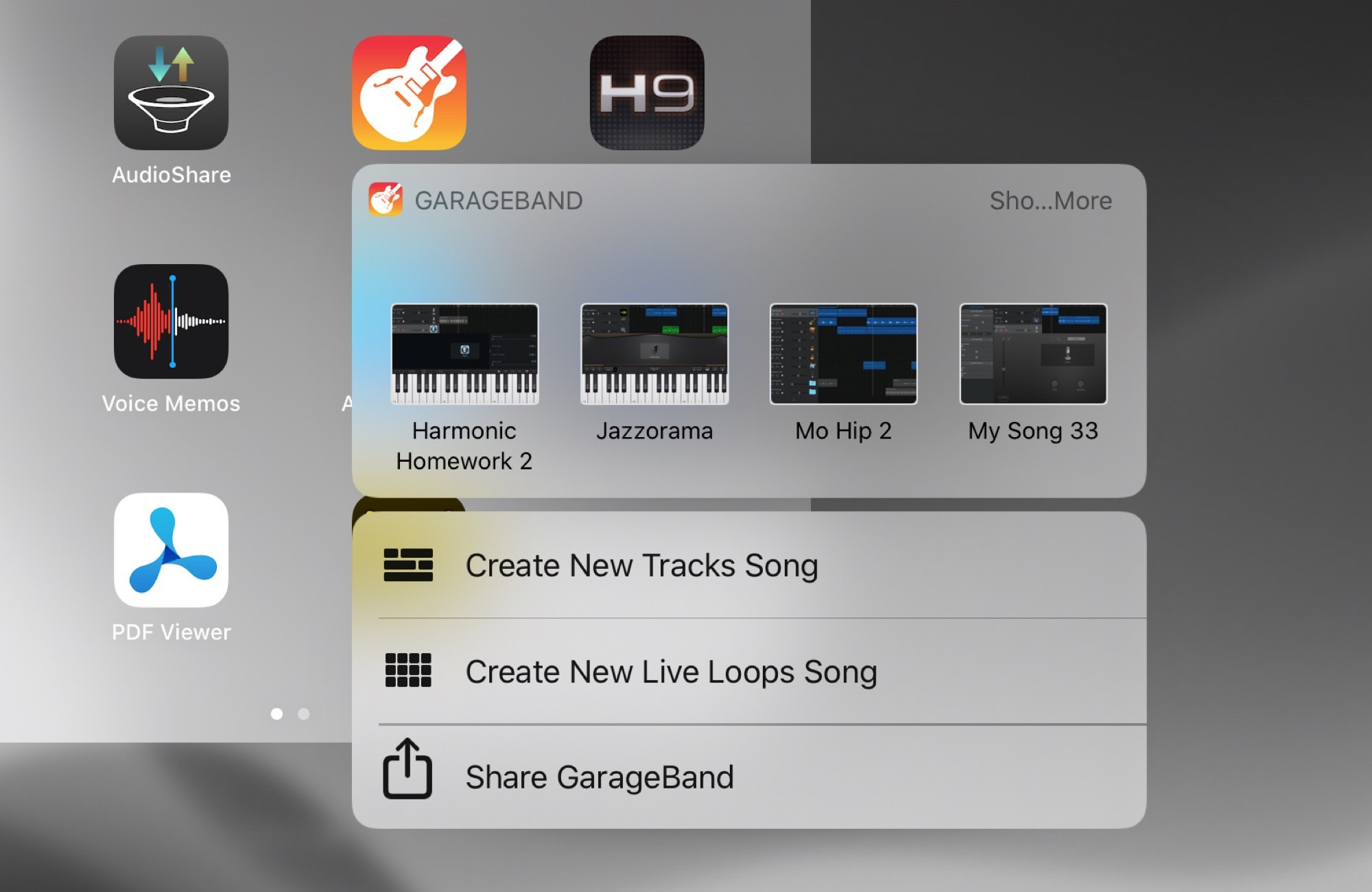 Quickly create a new song in GarageBand using 3D Touch iPad functionality.
