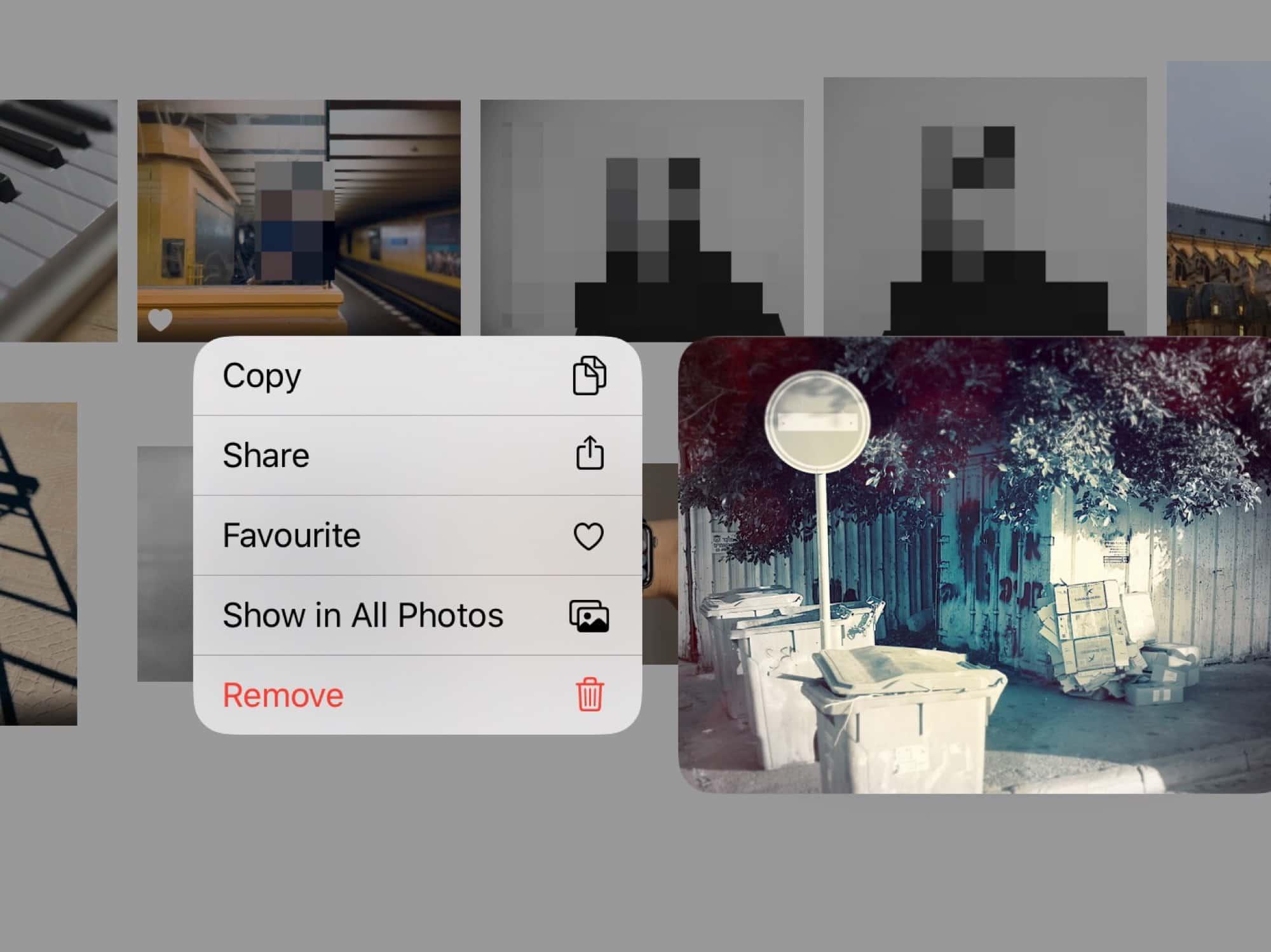 Photos app's contextual menu.
